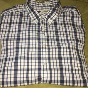 Lucky Brand Blue White Plaid Button Down Shirt